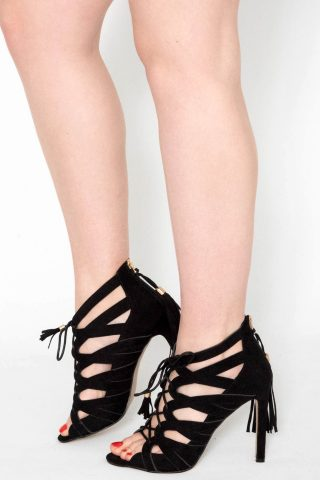 Black Faux Suede Lace Up Heels