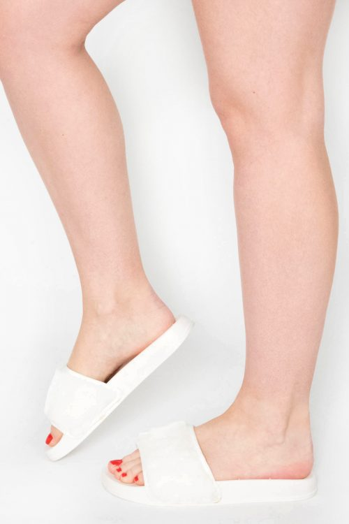Acacia White Faux Fur Sliders