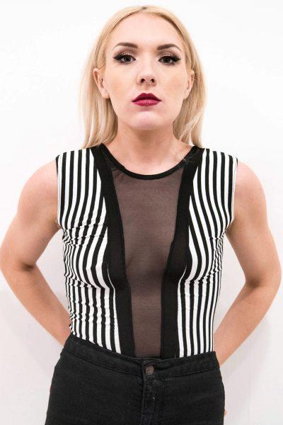 Felicity Sleeveless Striped Mesh Insert Bodysuit