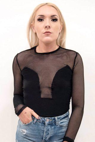 Jasmine Black Fishnet Mesh Insert Bodysuit