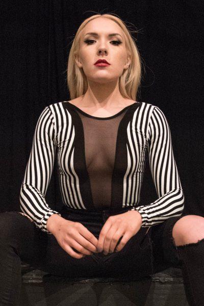 Felicity Long Sleeve Striped Mesh Insert Bodysuit