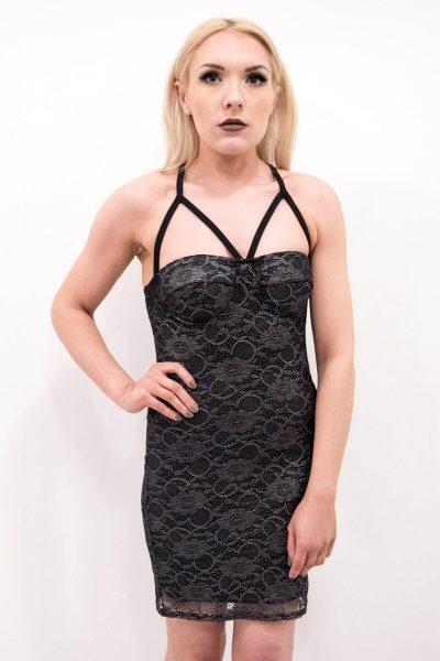 Amber Black Metallic Lace Strappy Mini Bodycon Dress