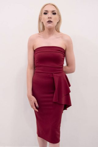 Sienna Wine Bandeau Frill Bodycon Dress