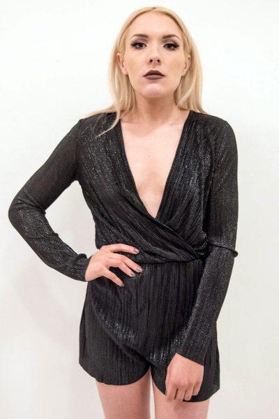 Faye Black Metallic Plunge Wrap Over Playsui