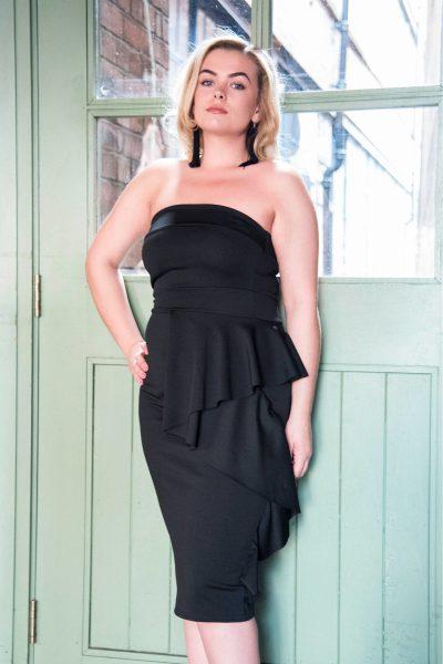 Sienna Black Bandeau Frill Bodycon Dress