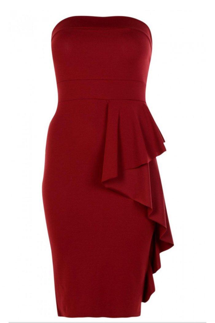 Sienna Wine Bandeau Frill Bodycon Dress