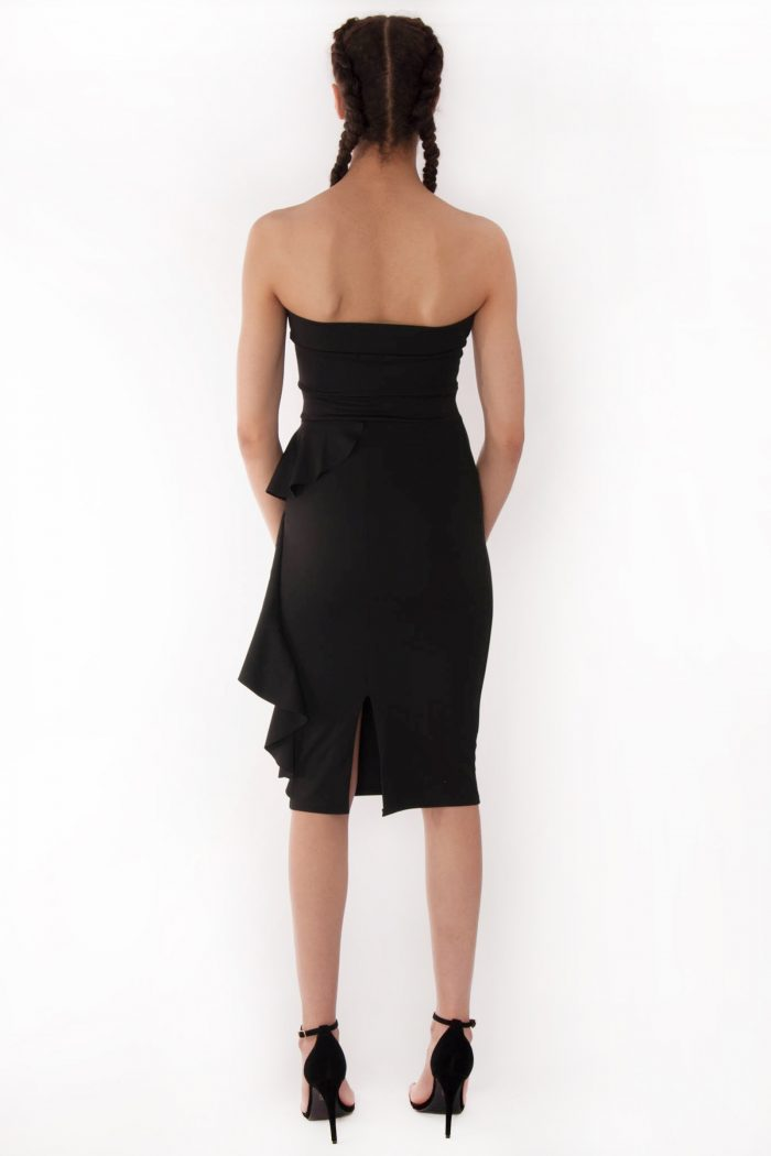 Sienna Black Bandeau Frill Bodycon Dress