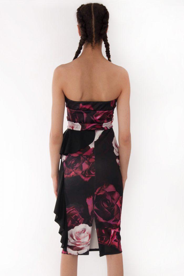 Sienna Floral Bandeau Frill Bodycon Dress