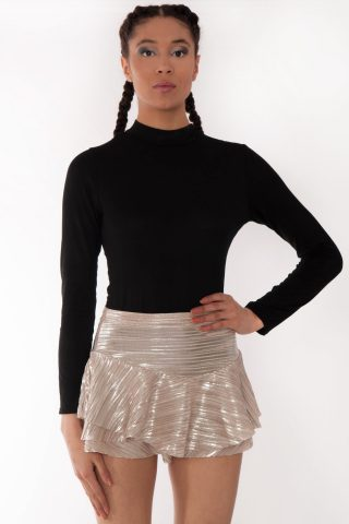 Didi Gold Metallic Double Frill High Waisted Skort