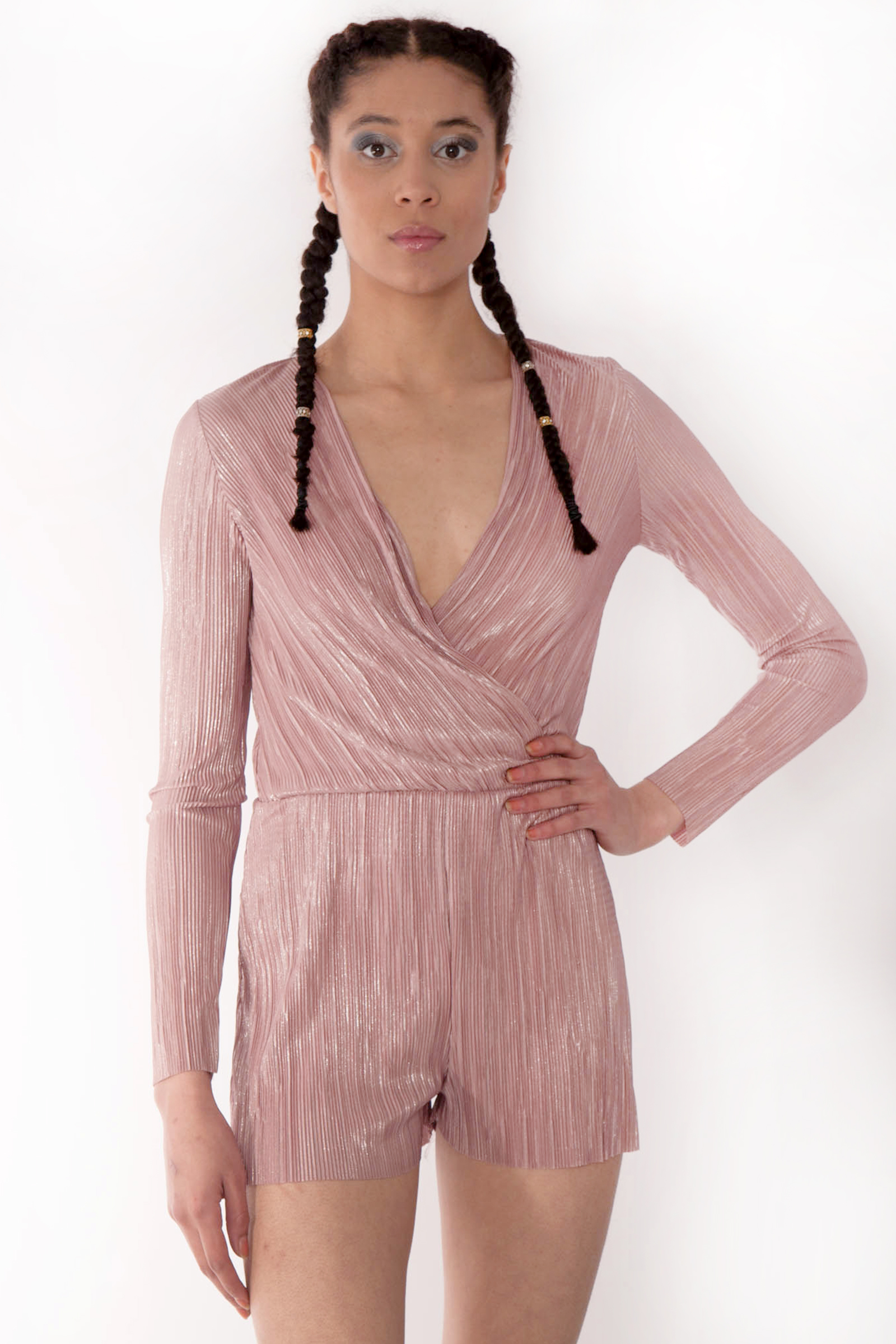 ff8413fdcb pink playsuit. Faye Rose Gold Metallic Plunge Wrap Over Playsuit