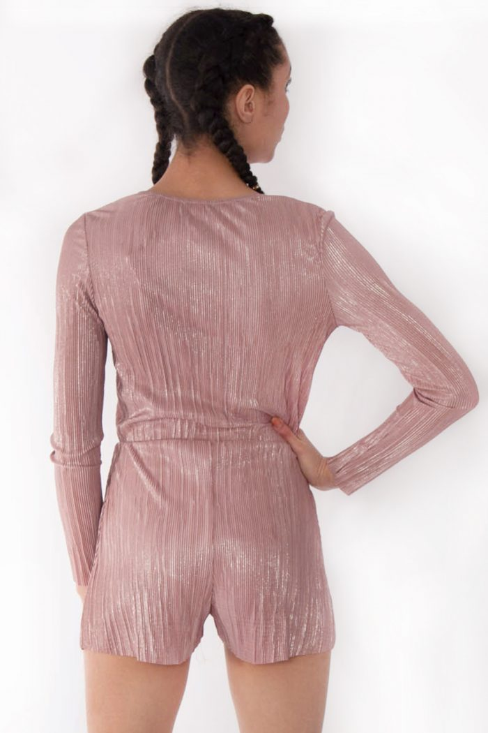 Faye Rose Gold Metallic Plunge Wrap Over Playsuit