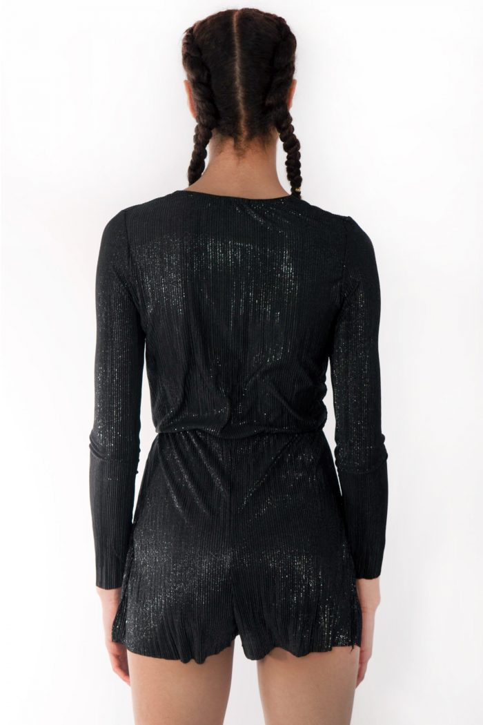 Faye Black Metallic Plunge Wrap Over Playsuit