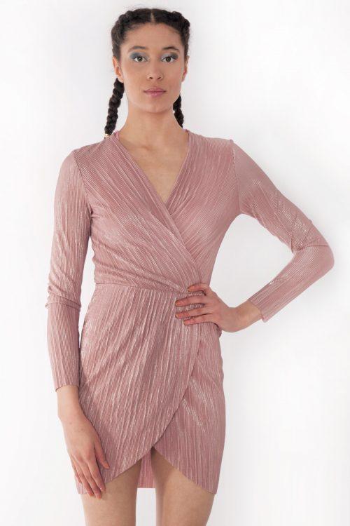 Emily Rose Pink Metallic Wrap Over Mini Dress
