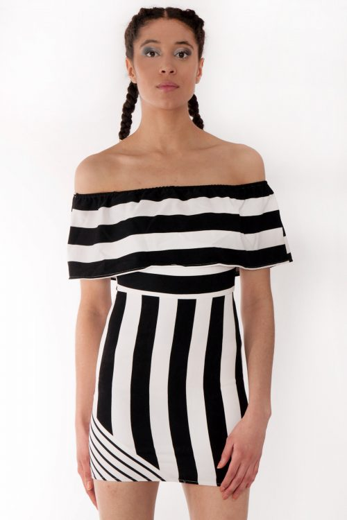 Mettisse Black White Striped Bardot Bodycon Dress