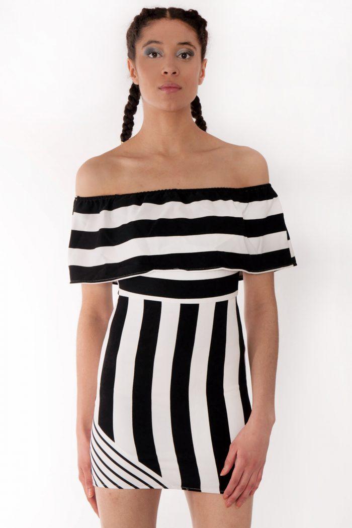 Mettisse Black White Striped Bardot Bodycon Dress