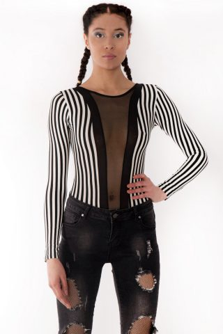 Felicity Long Sleeve Striped Mesh Insert Bodysuit