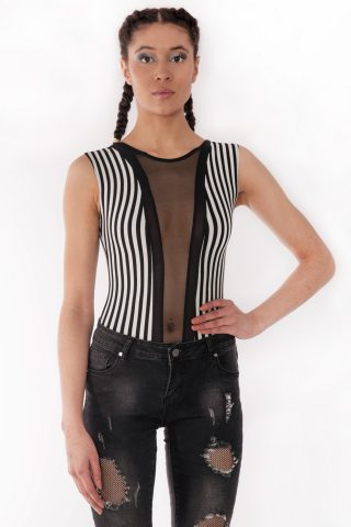 Felicity Sleeveless Striped Mesh Insert Bodysuit