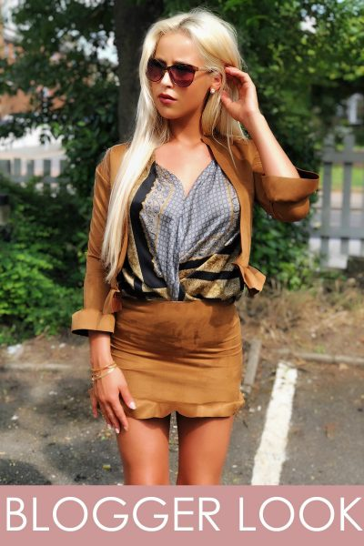 Lucy Tan Faux Suede Frill Mini Skirt