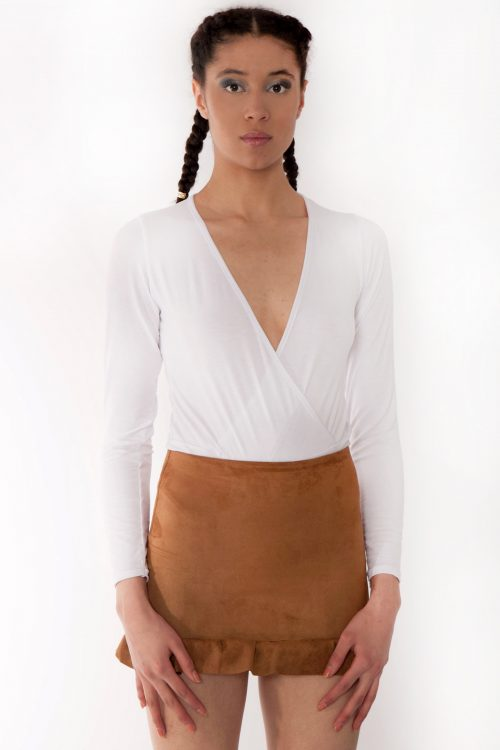 Tan Faux Suede Frill Mini Skirt