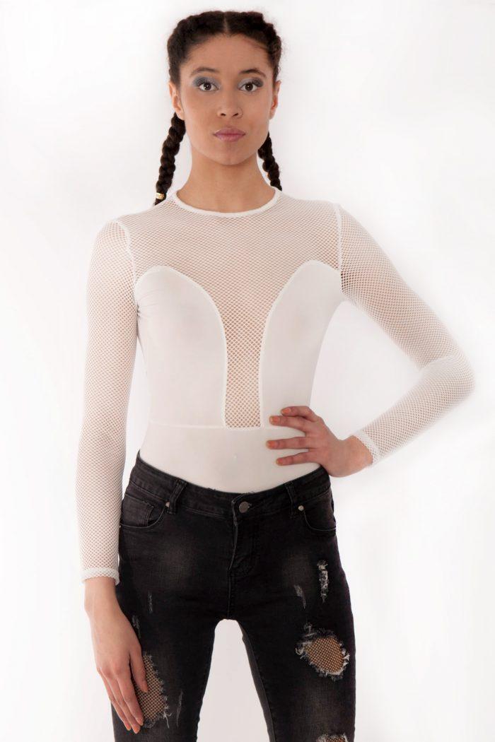Jasmine White Fishnet Mesh Insert Bodysuit