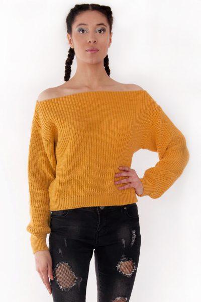 Millie Mustard Bardot Knitted Jumper