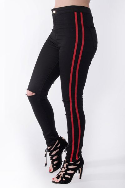 High Waisted Black Ripped Knee Red Stripe Jeans