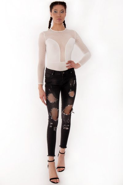 Chandice Black Distressed Ripped Fishnet Jeans