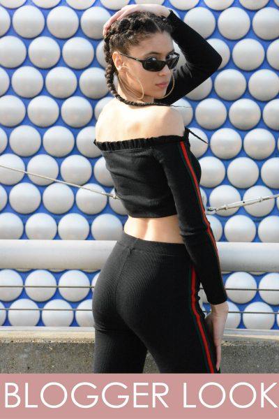 Payton Black Ribbed Side Stripe Bardot Loungewear