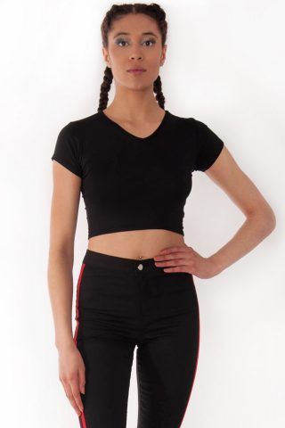Kendall Black V-Neck Crop Tee