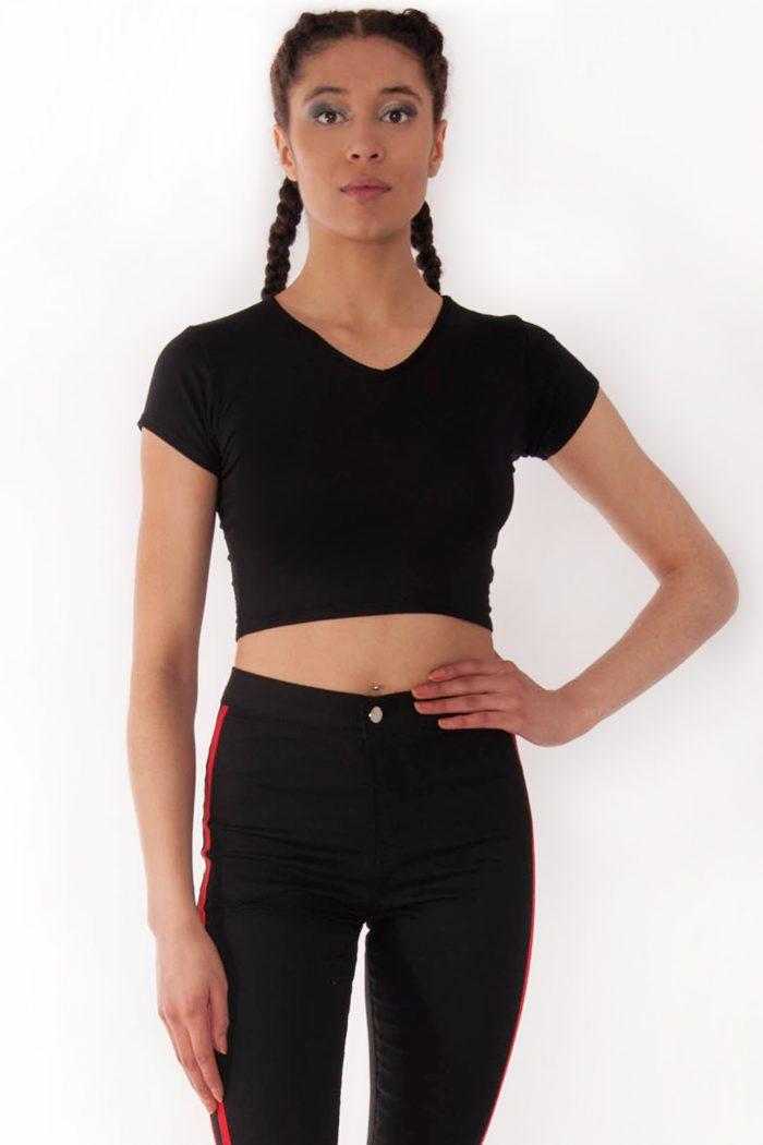 Kendall Black V-Neck Crop Tee