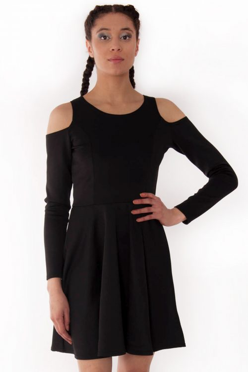Alexa Black Cold Shoulder Scuba Skater Swing Dress