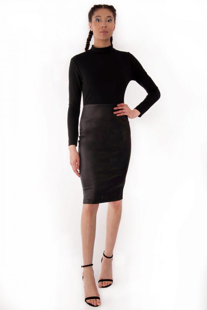 Trinity Faux Leather Panel Bodycon Midi Dress