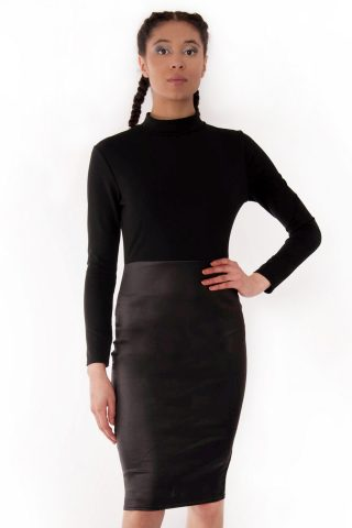 Trinity Faux Leather Panel Bodycon Midi Dress
