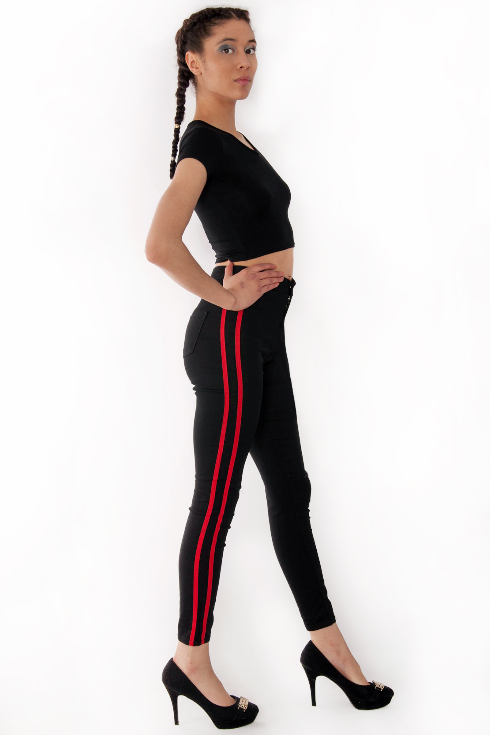 ed33d13a602f4 Holly High Waisted Black Ripped Knee Red Stripe Jeans