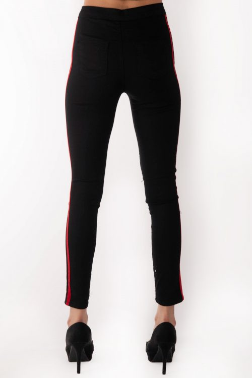 Holly High Waisted Black Ripped Knee Red Stripe Jeans