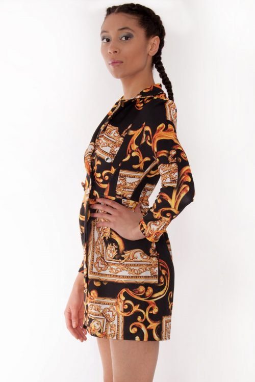 Avery Gold Scarf Print Blazer Dress