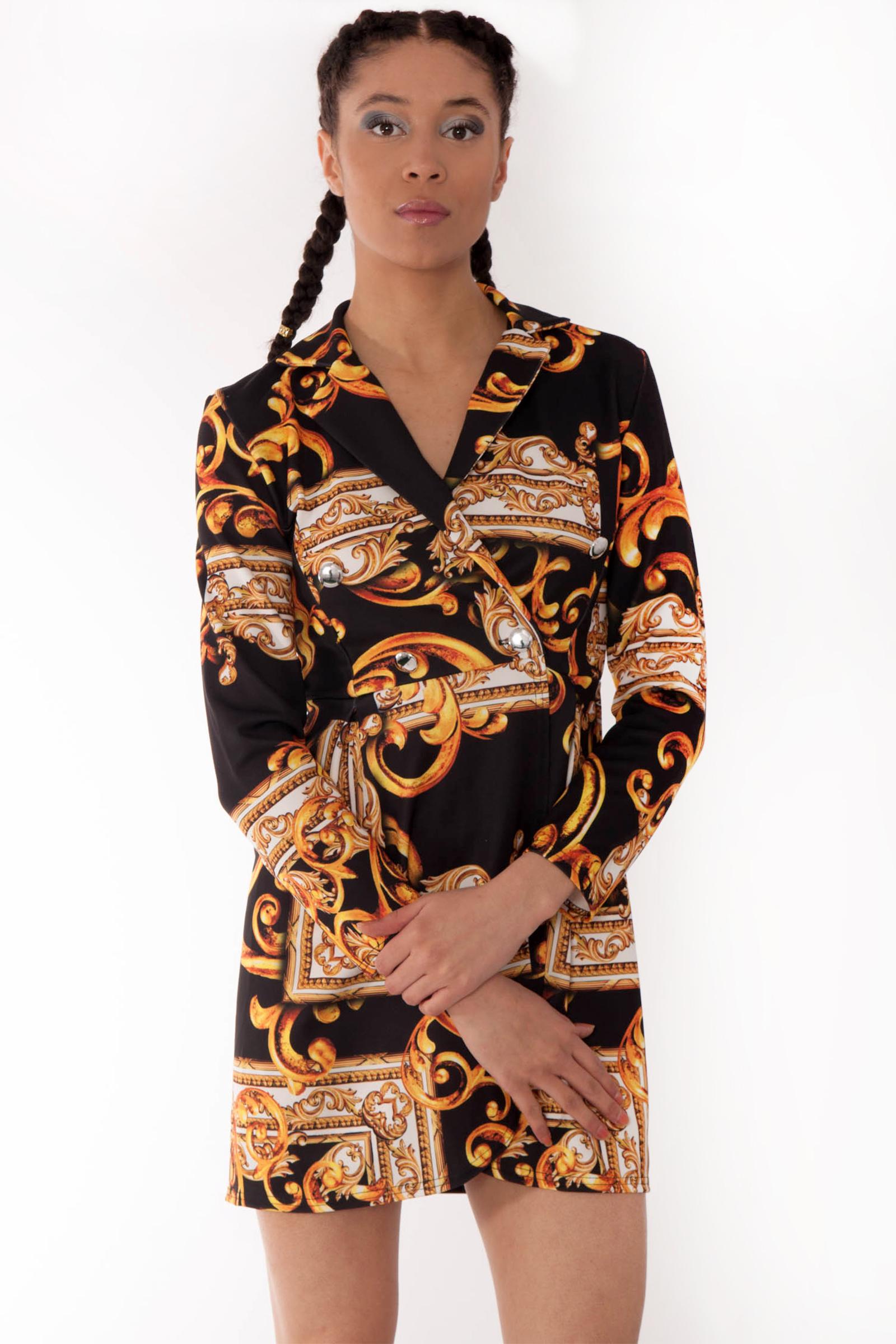Avery Gold Scarf Print Blazer Dress