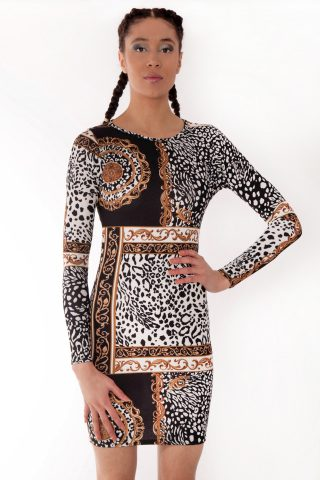 Riley Leopard Chain Scarf Print Bodycon Dress