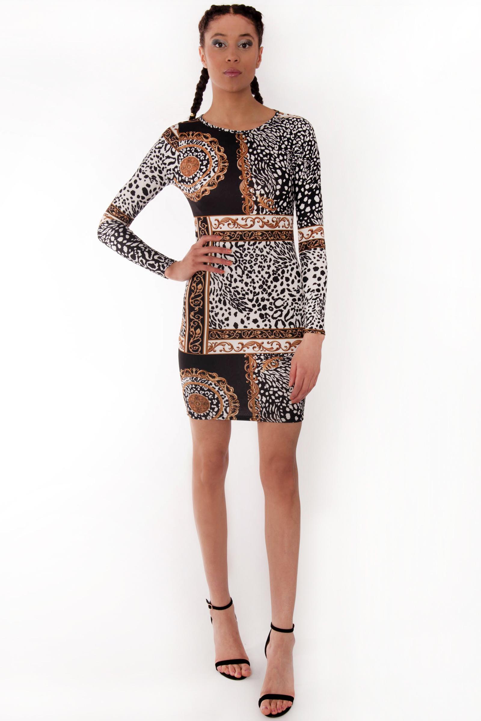 17099a1b887 Riley Leopard Chain Scarf Print Bodycon Dress