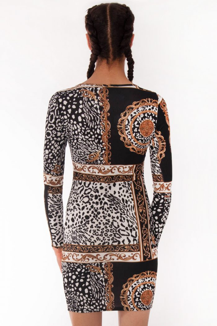 Riley Leopard Chain Scarf Print Bodycon Dress