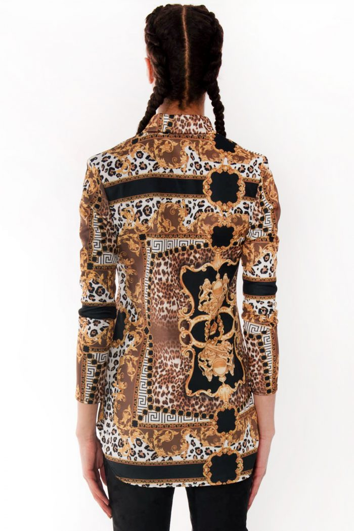 Sofia Leopard Scarf Print Gold Shirt Blouse