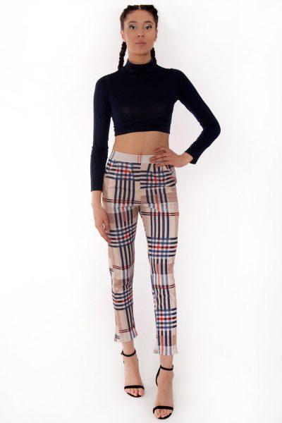 Maya Beige Check Tartan High Waisted Tapered Trousers