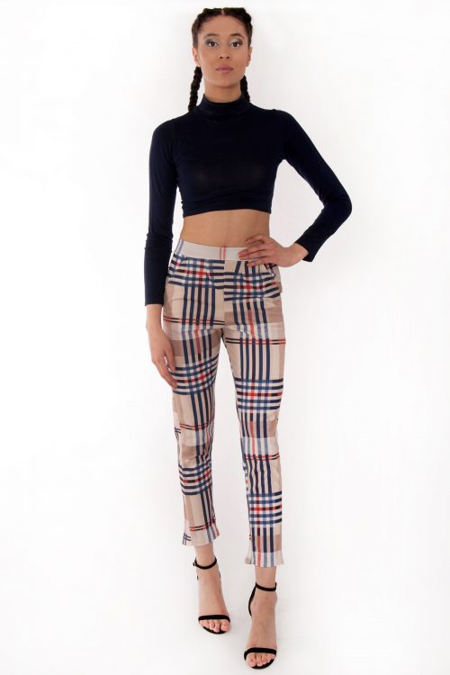 Maya Beige Check Tartan High Waisted Tapered Trousers