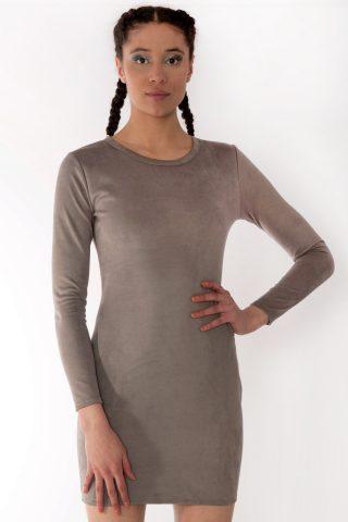 Rarna Grey Scuba Suede Long Sleeve Bodycon Dress.