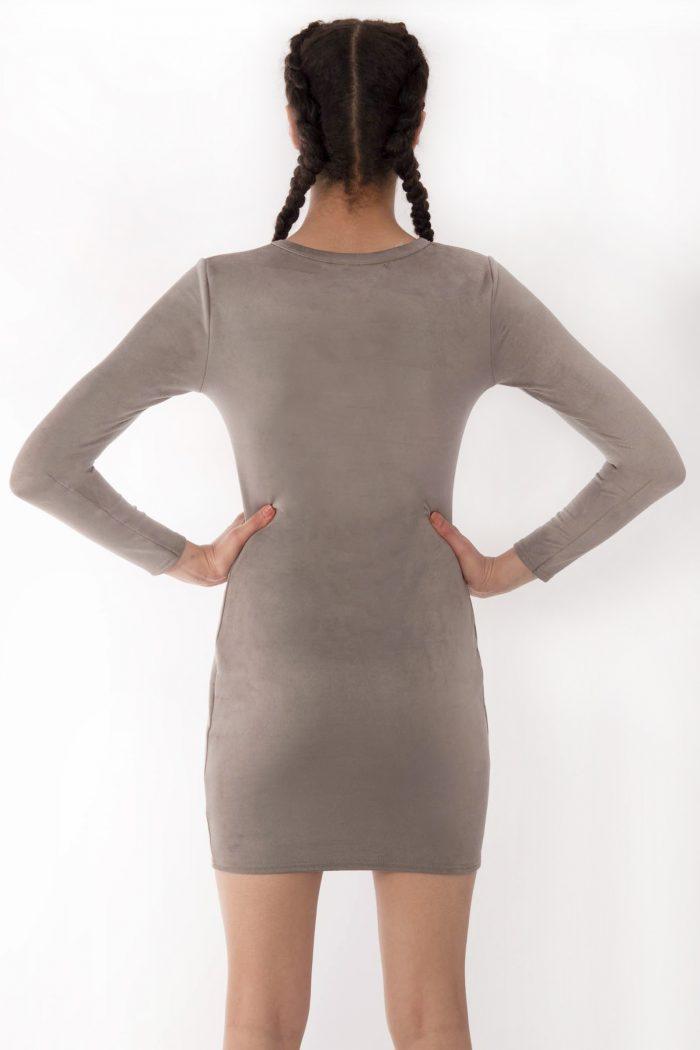 Rarna Grey Scuba Suede Long Sleeve Bodycon Dress