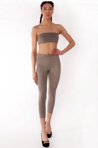 Andrea Grey Suede Slim Fit Leggings