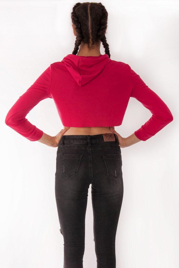 Sabrine Hot Pink Crop Hoodie
