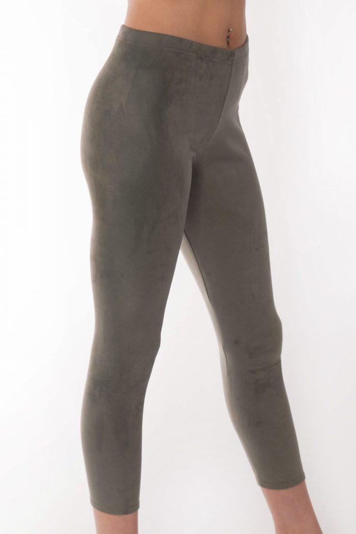 Andrea Khaki Suede Slim Fit Leggings.