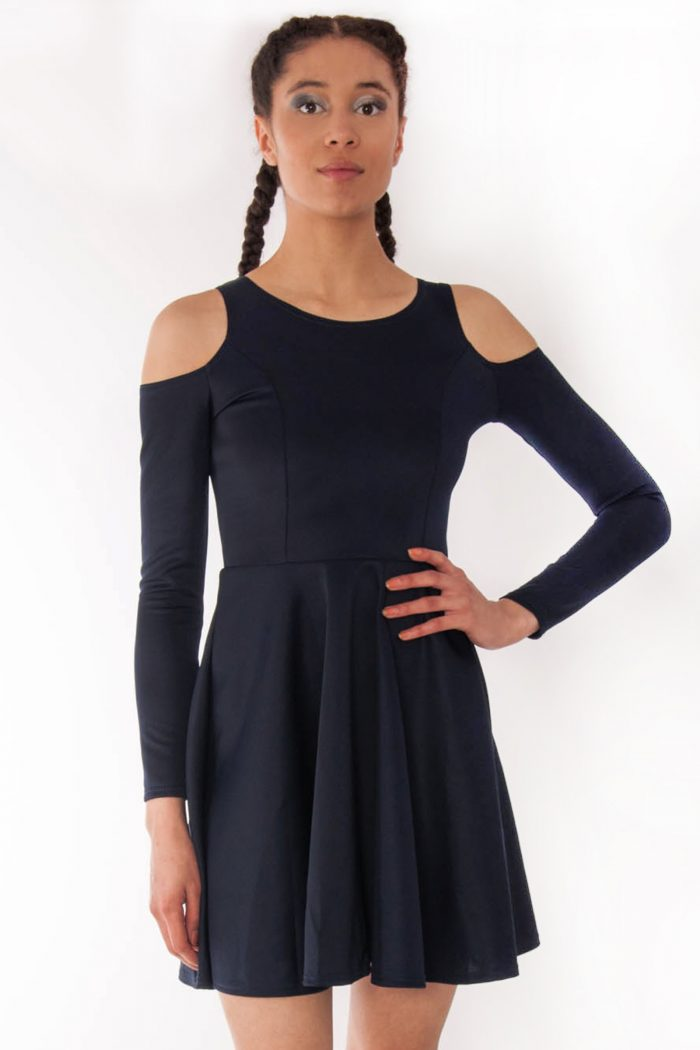 Alexa Navy Cold Shoulder Scuba Skater Swing Dress