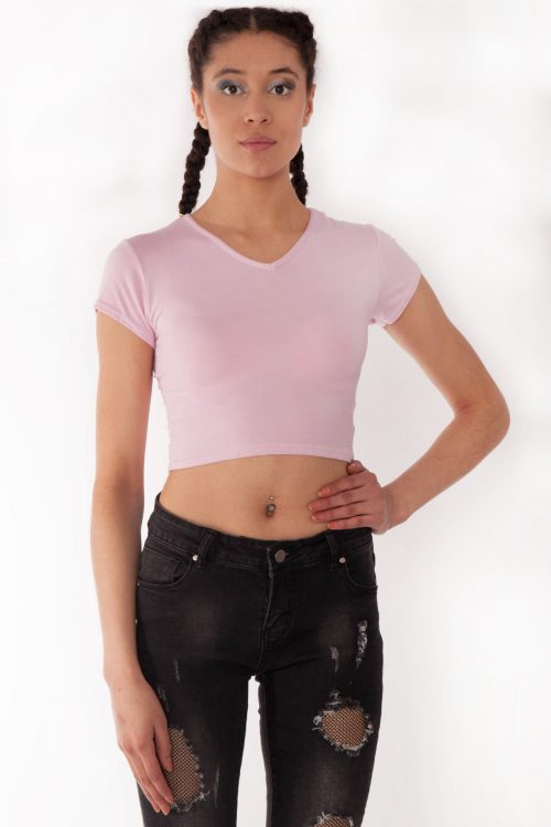 Kendall Baby Pink V-Neck Crop Tee